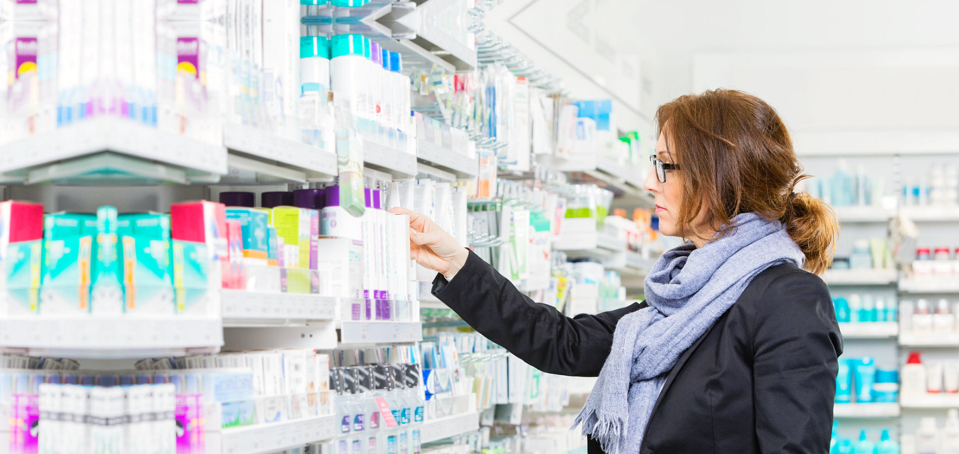customer looking for medicine at the pharmacy